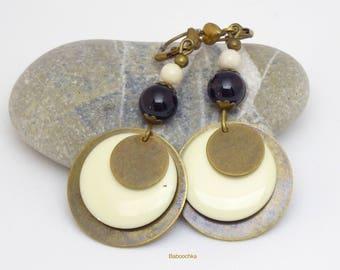 """Earrings """"Elfie"""" sequins, onyx and riverstone"""