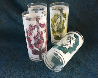 Vintage Frosted Glass Tumblers with Colorful Laurel Leaves, Set of 4