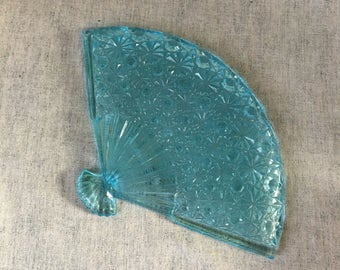 Vintage L G Wright Light Blue Daisy and Button Fan Tray