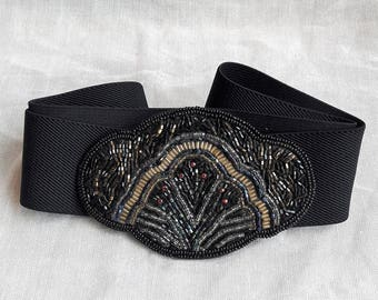 Black Vintage Elastic Embellished Beaded Belt