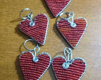 Beaded Heart Key Chain - South Africa