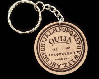 Ouija Spirit Board Hand Made Engraved Wood Keychain Keyring by JayEngrave