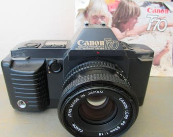 Canon Camera T70 35mm SLR with 50mm Canon FD Lens