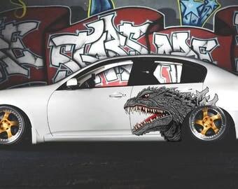 Godzilla Decal Etsy