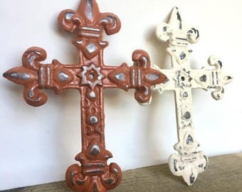 ON SALE Fleur de Lis Cross - Christian Wall Art - Gallery Wall Decor - Cast Iron Wall Cross - Decorative Crosses - Christian Gifts - Metal C
