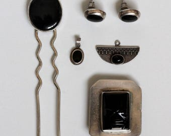 Vintage Black Onyx Silver 925 Jewelry Set Hair pin,Earrings,Mexico Brooch & pendant Lot