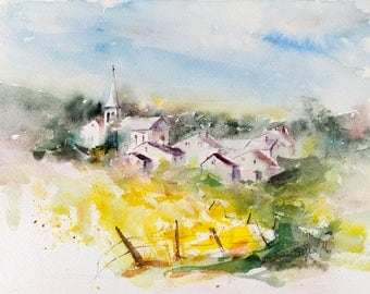 Small village in France watercolor, French village watercolour,Original painting, watercolour from France