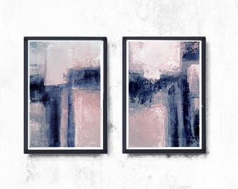Scandinavian abstract, Printable Art, Art Poster, modern abstract, Industrial Decor, indigo, white, pink, light pink, large print, navy blue