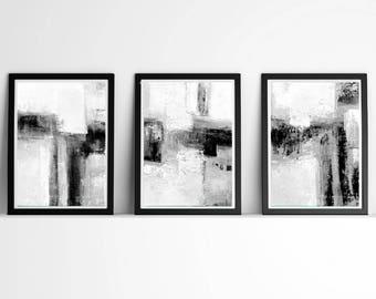 Minimalist Art, Minimalist Wall Art, Abstract Art set of 3, Black and White Wall Art, Modern Prints, Abstract Prints , large set of 3