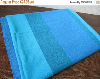 Vintage Swedish Tablecloth, Striped Cotton Tablecloth, Blue Green Tablecloth , Size- 180 cm x 138 cm / 70.8 x 54.3 inches