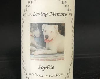 Pet Memorial Candle ~ Memorial that goes for Dogs, Cats, or Any Pets with Paws.