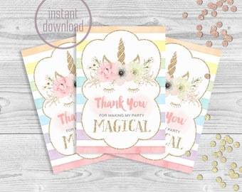 Unicorn first birthday thank you card rainbow magical pastel floral gold magic watercolor. Instant download. 203CMPEX 202CMPEX