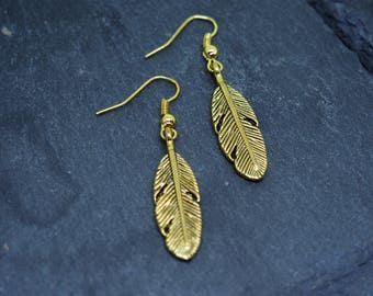 SALE Gold Feather Charm Drop Earring