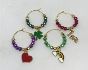 Ready to ship, set of 4 St. Patricks Day themed wine glass charms