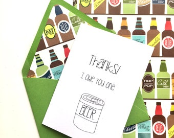 Thank You Card, Funny Thank You Card, Beer Thank You Card, Thanks, Beer Card