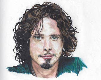 Chris Cornell Portrait - portrait drawing - Soundgarden - Audioslave