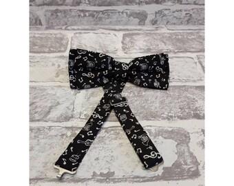 Men's Bow Tie - Men's Black And White Musical Notes Bow Tie - Cotton Bow Tie - Men's Music Bow Tie