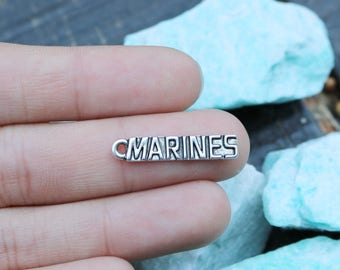 set of 50, marine charms, silver tags, metal charms, wholesale charms, 25mm x 5mm, word charms, word tags,
