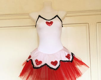 Tutu red and white dance top