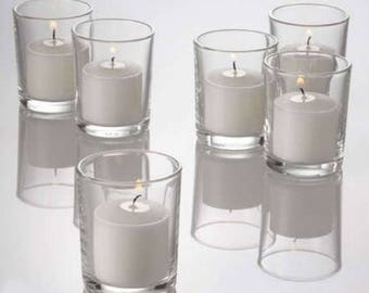 Set of 120 Votive Candle Holders & Candles, Clear Glass Candle Holder,  Bulk set Candle Holders, lot Candle holder, Wedding Gift