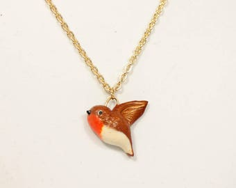 Necklace Bird Robin Small (Fimo Polymer Clay) Handmade