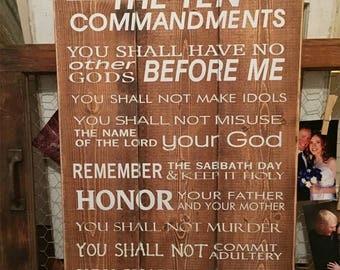 Ten Commandments Plaque • Scripture wood sign • Church wall decor • Shabby Chic • Bible Verse Plaque • Custom Scripture • Rustic Scripture