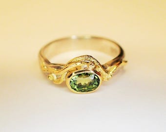 Ring Silver Gold tourmaline green / you can buy me, but I want made or sent be from 28.08.