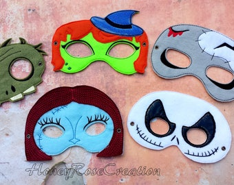 Halloween mask.Embroidered Zombie mask,Witch,Jack,Sally mask