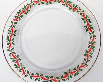 1980's Set of 4 (FOUR) Arby's Christmas Desser/Salad Plates- Holly and Berry Holiday Glasses by Libbey with Gold Edge
