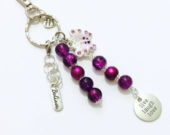 Butterfly Bag Charm Gift, Awareness Bag-Purse Charm. Fibromyalgia Key Charm Gift, Spoonie Bag Charm, Gift for Her, Friends Gift, Mum Gift,