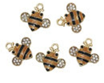 30 bumble bee charms - For Donna