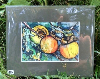 Matted Original Watercolor & Ink Painting of Fall Persimmons