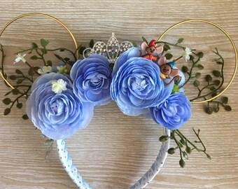 Cinderella Floral Wire Ears, Cinderella Minnie Ears, Cinderella Ears, Cinderella Mouse Ears
