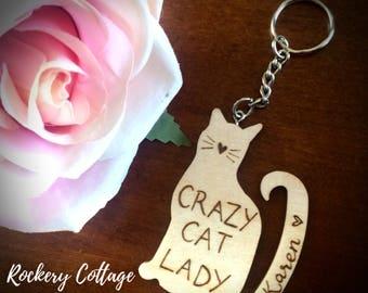 Crazy cat lady key chain, cat keyring, custom keyring, customised cat gift, crazy cat lady gift, cat lovers gift, pyrography, wood burned