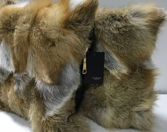 Two decorative pillow 40 * 40 cm made of genuine fox fur
