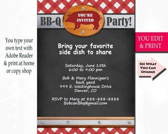 BBQ Invitation, BBQ Party Invitation, Barbecue Invitation, Summer Party Invitation, Printable BBQ You Edit Yourself Instant Download