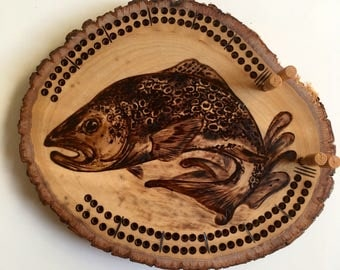 Trout Cribbage Board | handmade, woodburned, custom, fish, card game