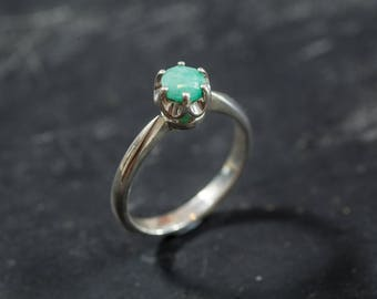 Natural Emerald Ring, Emerald Promise Ring, Natural Emerald, May Birthstone, Genuine Emerald, May Ring, Vintage, Solid Silver Ring, Emerald