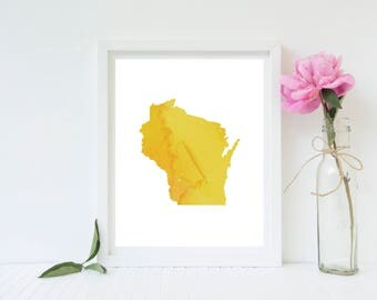Wisconsin Print, Wisconsin Art, Wisconsin Watercolor, Wisconsin Decor, Home Decor, Wall Art, Digital Print, Housewarming Gift, Moving Gift