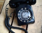 Vintage Black Western Electric Bell System Rotary Dial Telephone, Retro 1970s, Model 500 Phone, Prop