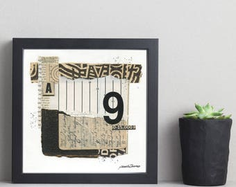 INNUENDO mixed media abstract collage, original art, wall art, vintage papers
