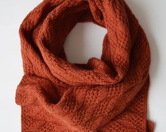 Large orange hand-knitted scarf in wool and alpaca