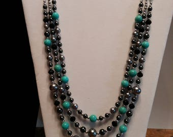 Turquoise, silver and black layered necklace