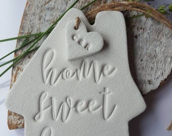 Home Sweet Home Ornament ~ New House Gift ~ House Ornament ~ Clay House ~ House Warming Gift