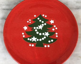 vintage Waechtersbach Christmas tree salad plate, red plate, green christmas tree, collectible, 1970s