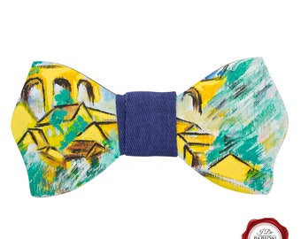 Hand painted wooden bow tie with Braque inspired pattern