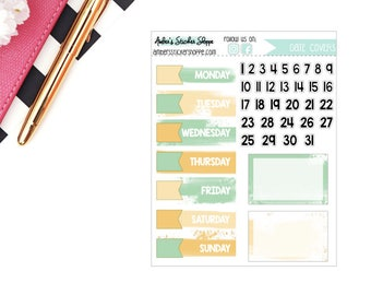 Green Meadow Brush Stroke Date Covers Planner Stickers
