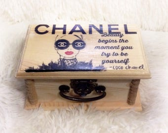 CocoChannel,  NYC,gifts for home, fashion, glasses, trinkets, glam, style,wood box, girl gifts, Unique gift, jewelry Box, birthday Gift,
