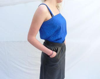 Cobalt blue vintage French 1980's satin effect camisole