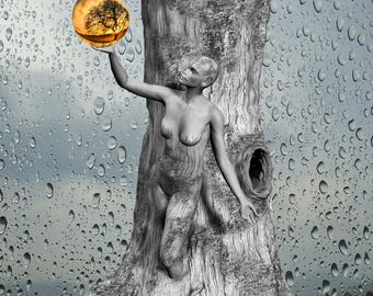 Dryad Tree Greek mythology tree spirit Fantasy Living Room Wall Art Bathroom Decor Greek